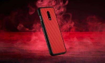 red carbon fiber oneplus 7 grip case